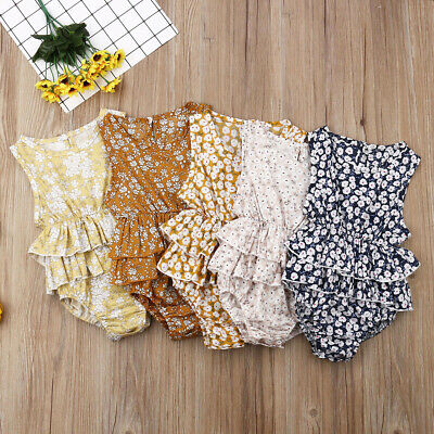 UK Summer Newborn Infant Baby Girl Floral Clothes Sleeveless Romper Dress Outfit