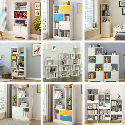 2-6 Tier Corner Shelf Bookshelf Bookcase Storage Display Shelving Rack Unit Wood
