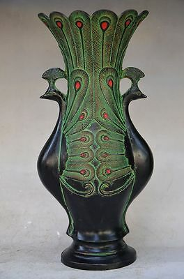 Beautiful Chinese Bronze Handmade Carved Peacock Vase