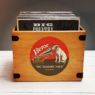 "HMV Record Box 12"" LP Vintage Wooden Album Crate HMV Records Vinyl Nipper"