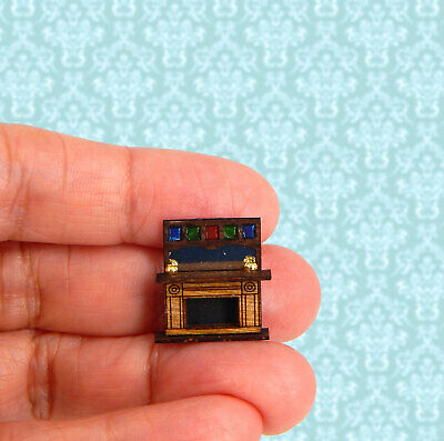 1/144th Scale Dollhouse Miniature Majestic Faux Stained Glass Tall Fireplace