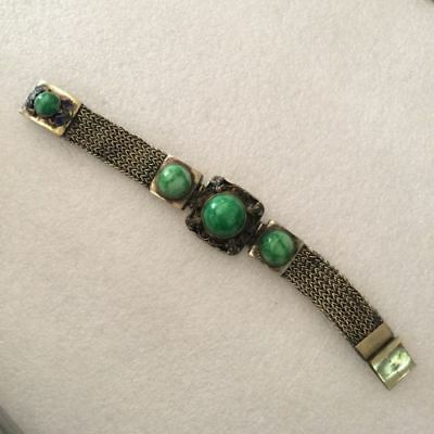 antique Chinese ancient Tibetan silver inlaid with turquoise jade bracelet