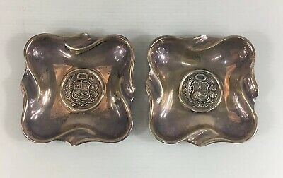 Vintage Solid Sterling Silver Pair Of Dishes/Ashtrays Camusso Peru 114g