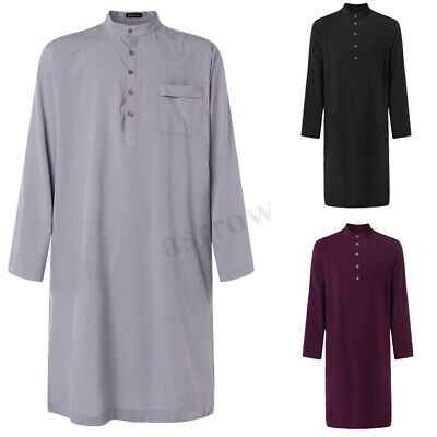 Men's Long Sleeve Middle East Clothing Islam Button Shirt Tops Thobe Robe Abaya