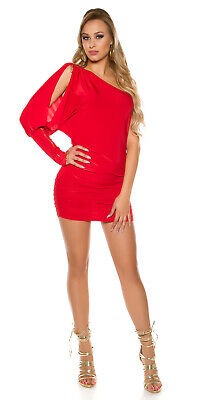 Womens sexy asymmetrical dress red occasion one size (8-12) was £27 now £22 !