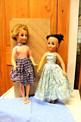 Vintage Fashion Dolls 17 and 18 inch-Two  1950 -Clothes Accessories and Trunk!