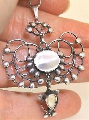 Liberty & Co Stylised Peacock Mother Of Pearl Silver Pendant Necklace Pat. 9442