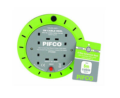 NEW PIFCO 5M 4 Way 13 AMP Electric Extension Cable Reel Mains Plug Socket Lead