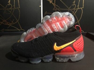 Nike Air Vapormax Flyknit 2 Black Laser Orange Red 942842-005 Men Size 11.5