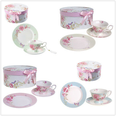 Cup and Saucer Dessert Plate set 3 Shabby Chic porcelain Bird Butterfly Gift Box
