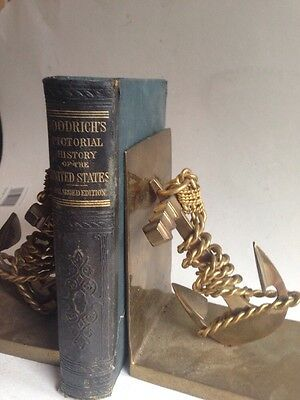 NAUTICAL anchor & rope BOOKENDS antique BRASS ship THE BEST of THE BEST boats