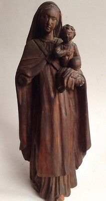 antique Hand Carved European Wood Religious Madonna & Baby Jesus Statue Carving