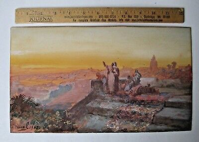 Middle Eastern PAINTING watercolor P. PASCAL antique FRENCH 1903- ? ORIENTAL RUG