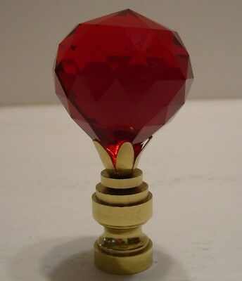 Lamp Finial Red Ball Lead Crystal with Brass Base