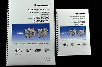 PRINTED Panasonic FZ200 Full User guide Instruction manual  in full colour A4/A5