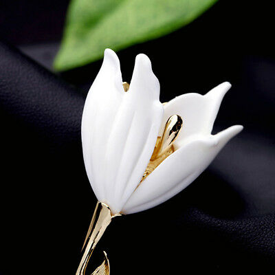 Fashion White Tulips Branch Magnolia Flower Buckle Brooch Pin Gift D