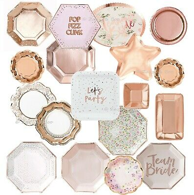 ROSE GOLD Party PLATES Supplies Tableware Wedding Birthday Tea Hen Party Floral