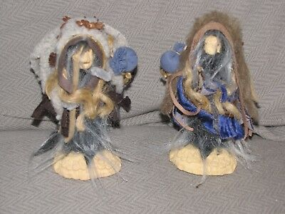 """Collectible Wizard Medicine Man Troll Set Lot Signed """"Steele"""" Carved Wood"""