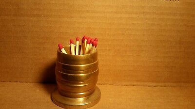 BARREL old 1900's Miniature SOLID BRASS antique MATCH HOLDER or TOOTHPICK HOLDER