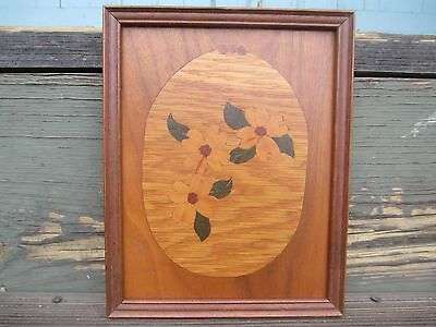 Antique Parquetry Inlay Plaque Wooden Wall Panel Circa Early 1900's BOTANICAL
