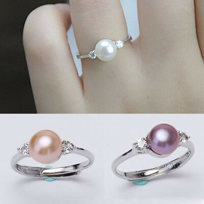 Cubic Zirconia Freshwater Pearl Engagement Ring Plated Silver Jewelry Gifts D