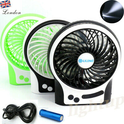 Portable Handheld Mini Rechargeable USB Charging Cool Fan 3 Speed+18650 Battery