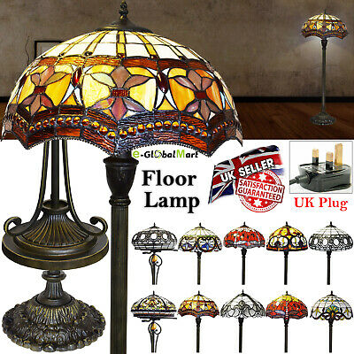 Tiffany Style Handcrafted Stained Glass Floor Lamp Home Decor Classic Antique Uk
