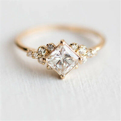 Vintage Silver Solid Crystal Wedding Engagement Band Ring Princess Jewelry D