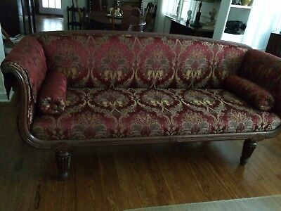 Authentic Antique Hand Carved Mahogany Period Sheraton Sofa, c.1800 - 1810