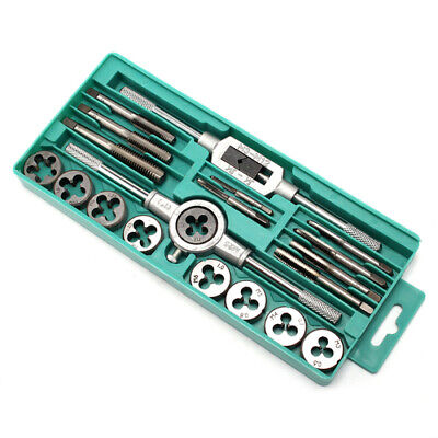 20Pcs Screw Screwdriver Thread Metric Tap and Die Set Wrench Hand Tool Kit