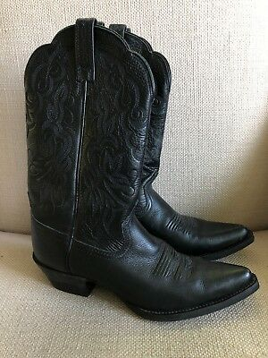 Ariat #15771 Black Leather Pointed Toe Cowboy Western Boots US 6.5