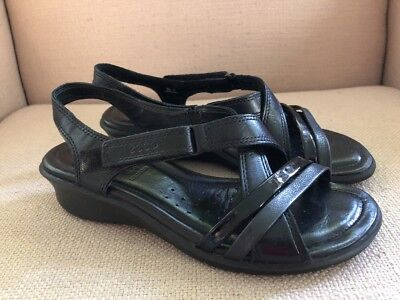 3c25a8bcf64a Ecco Black Leather Patent Strappy Wedge Comfort Sandals Size 37 (Us 6-6.5)