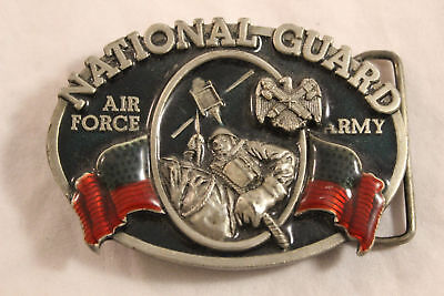 National Guard Army Air Force Solid Pewter Vintage 1982 Belt Buckle