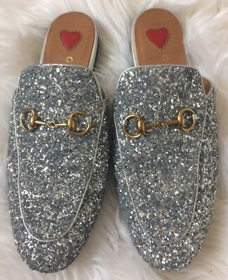 f49b5a1a6931 Gucci Princetown Loafer 37 Mule Silver Glitter Leather Women s Shoes Size