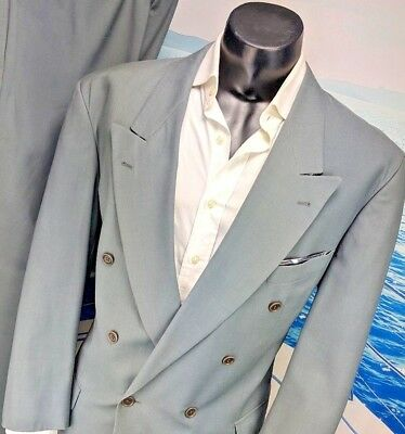 d7939e348 HUGO BOSS MENS 2pc Suit 43R Double Breasted Al Capone Chicago wool ...