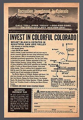 1973 Colorado Recreational Land Print Ad~Mount Blanca Estates~San Luis Valley