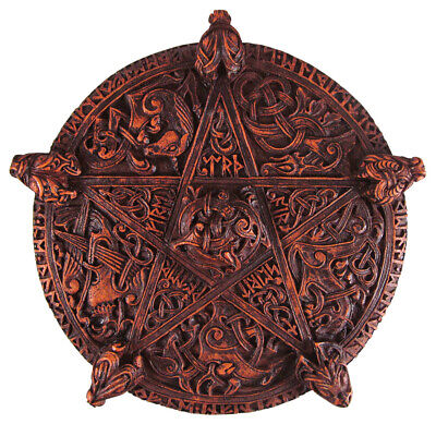 Celtic Knotwork Pentacle Plaque - Wood Finish - Dryad Design - Pagan Wicca Wicca