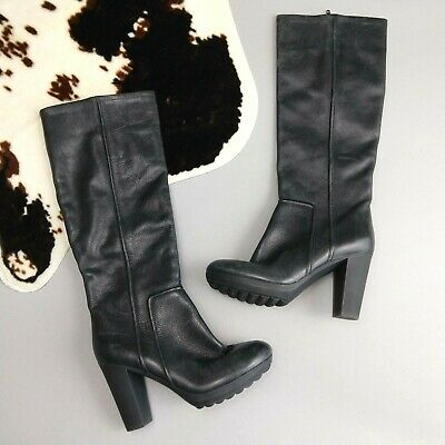 4aa89996a16 Camper Size 37 6 6.5 New Black Boots Heeled Tall Riding Round Toe Zip Knee  High