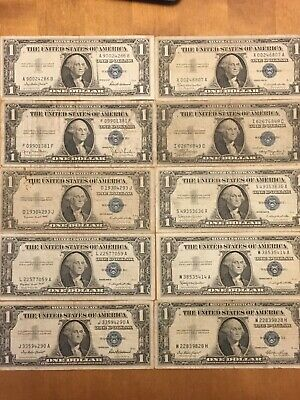 Lot Of 10 Silver Certificates- Mix Dates 1935's And 1957's