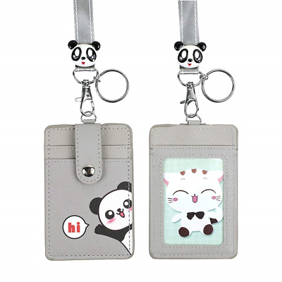 Cute Credit Card Case Neck Pouch ID Badge Holder Lanyard,Cartoon Shield Keychain