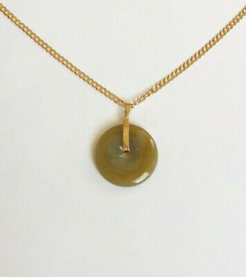 18K Solid Yellow Gold Round Donut Natural Jade Brown Pendant