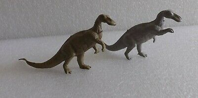 VINTAGE 1960's MARX LOT OF 2 TRACHODON GRAY BROWN  PREHISTORIC PLAYSET DINOSAURS