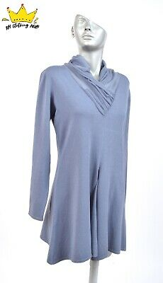 c2e3c67f5a BITTE KAI RAND Long Sleeve Ruched Polo Neck Spring Blue Shift Dress Tunic  Sz L