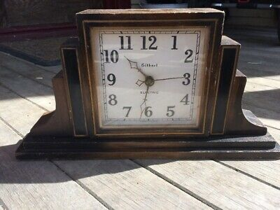 Vtg Antique Gilbert Wood Art Deco Mantle-Clock Electric Turned Battery