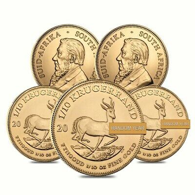 Lot of 5 - 1/10 oz South African Krugerrand Gold Coin (Random Year)