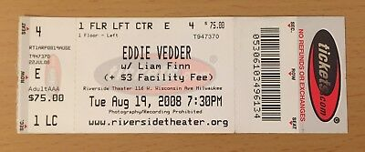 2008 Eddie Vedder solo Milwaukee Concert Ticket Stub Pearl Jam Ten Jeremy Vs