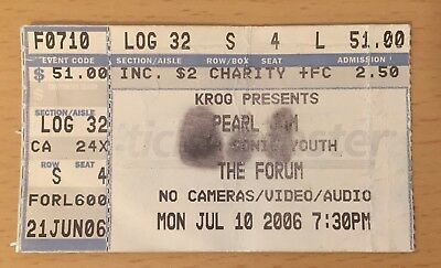 2006 Pearl Jam Sonic Youth Los Angeles Concert Ticket Stub Ten Eddie Vedder 710