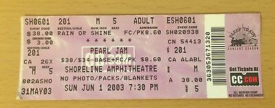 2003 Pearl Jam San Francisco Concert Ticket Stub Eddie Vedder Ten Vs. Even Flow