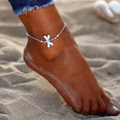 Lady Stone Drop Dragonfly Ankle Anklet Foot Bracelet Barefoot Sandal Jewelry D