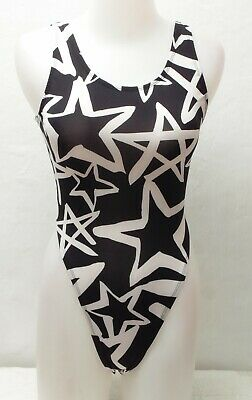 New Black & White Star Pattern Thong Leotard for Women size 14 Medium
